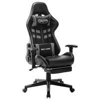vidaXL Chaise de jeu avec repose-pied Noir et gris Cuir artificiel