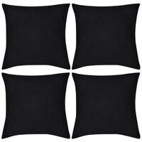 vidaXL Housses de coussin Coton 4 pcs Noir 40x40 cm