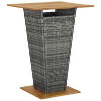 vidaXL Table de bar Gris 80x80x110 cm Résine tressée et bois d'acacia