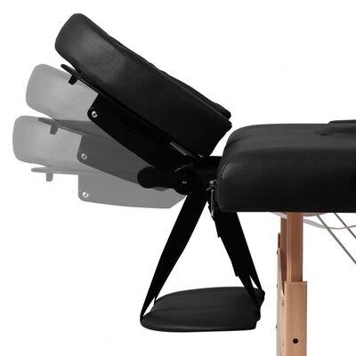 vidaXL Table pliable de massage Noir 3 zones avec cadre en bois