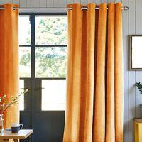 ARTHUR - Rideau en velours de coton à oeillets uni jaune 150x260