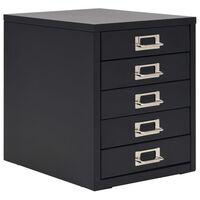 vidaXL Classeur à 5 tiroirs Métal 28 x 35 x 35 cm Noir