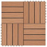vidaXL Carreau de terrasse en relief 11 pcs WPC 30 x 30 cm 1 m²