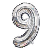 Ballon 53 cm, numéro 9 - argent