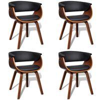 vidaXL Chaises de salle à manger 4 pcs Bois courbé et similicuir