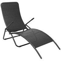vidaXL Chaise longue pliante Rotin synthétique Noir