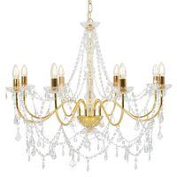 vidaXL Lustre avec perles Doré 8 ampoules E14