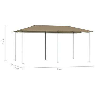vidaXL Belvédère 3x6x2,6 m Taupe 160 g/m²