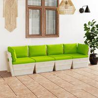 vidaXL Canapé palette à 4 places de jardin avec coussins Bois d'épicéa