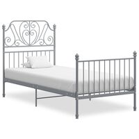 vidaXL Bed Frame Grey Metal and Plywood 100x200 cm